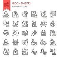 Uppsättning av svartvita tunn linje biokemi element