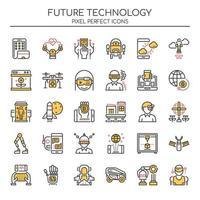 Uppsättning av Duotone Color Future Technology Icons vektor