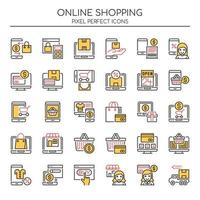 Uppsättning av Duotone Thin Line Online Shopping Icons vektor