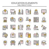 Uppsättning av Duotone tunn linje utbildning ikoner