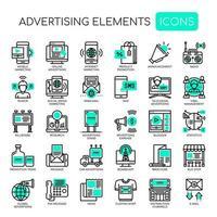Uppsättning av gröna monokroma reklamelement vektor