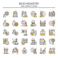 Uppsättning av Duotone tunn linje biokemi ikoner