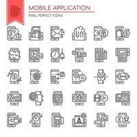 Reihe von schwarzen und weißen dünne Linie mobile Anwendungssymbole vektor