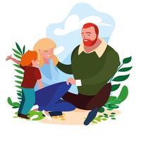Eltern mit Sohn im Freien vektor