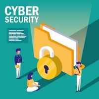 Personen mit Ordnerdokumenten und Internetsicherheit vektor