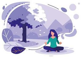 Geometriskt landskap med träd och kvinna vektor