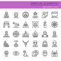 Uppsättning av andliga element i svartvit tunn linje