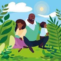 föräldrar med sonfamiljen i soligt landskap