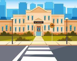 skolbyggnad med väg