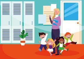 lärarkvinnlig med elever i skolan