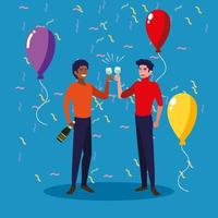 män firar glatt på fest vektor
