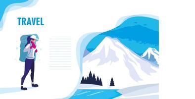 snowscape natur med resenärens webbsida
