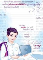 Mall för anteckningsbok eller anteckningsblock. Ung studentman med en bärbar dator, på bakgrunden en akvarelltextur och en imitation av datorkoden.