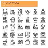 Uppsättning av svartvita tunna linjer kökverktygssymboler