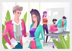 Koncept i platt stil med kontorsarbetare