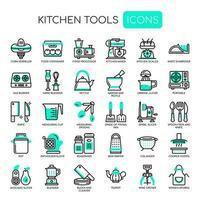Satz einfarbige dünne Linie Küchen-Werkzeug-Ikonen vektor