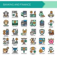 Uppsättning av färg tunn linje bank och finans ikoner
