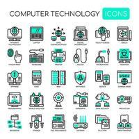 Uppsättning av svartvit tunn linje ikoner för datorteknologi