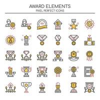 Satz von Duotone Thin Line Award-Elementen vektor