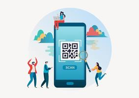 Folk som skannar qr-kod för betalning via smartphone