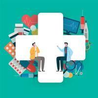 Patientenberatung beim Arzt. Gesundheitswesenkonzept, Ärzteteam. vektor