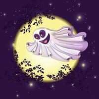 Spöke flyger mot månen och stjärnhimlen