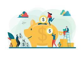 Sparen Sie Geldkonzept mit den Leuten, die Geld in großes Sparschwein einsetzen
