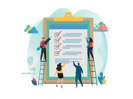 Folk fyller i checklistan på en urklipp. Platt design.