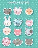 ansikte djur klistermärke för utskrift, paket, märke, produkt, t shirt. vektorillustration