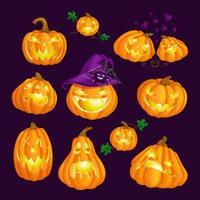 Uppsättning av läskiga glödande snidade pumpor för Halloween vektor