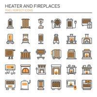 Värmare och eldstäder tunn linje och perfekta ikoner för pixlar vektor