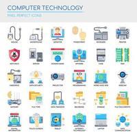 Uppsättning platt färg ikoner för datorteknologi