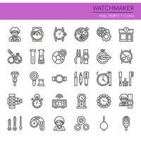 Uppsättning av svartvita tunn linje Watchmaking ikoner
