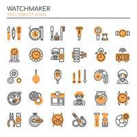 Uppsättning av monokrom tunn linje Watchmaker-ikoner