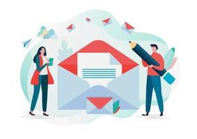 Folk som kontrollerar e-post. Nytt e-postmeddelande, e-postmeddelande. vektor