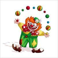Rothaarige Clown-Zeichentrickfigur vektor