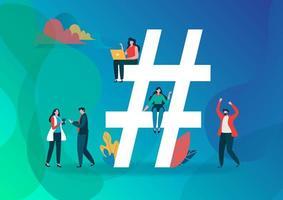 Hashtag-symbol och grupp människor på sociala medier.