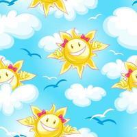 Sömlös sommarmodell med sol på blå himmel vektor