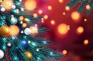 Julgranfilialer med suddiga ljus vektor