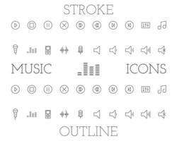 Musik disposition och stroke ikoner set, enkel tunn linje design