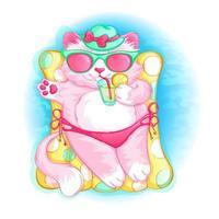 Den söta rosa katten i en hatt ligger på en uppblåsbar madrass med en cocktail i tassen. Sommarsemester till havs. Barns seriefigur.