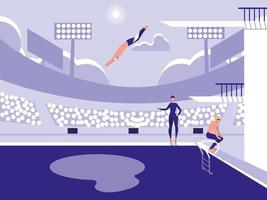 spelare i poolen för dykningstävling