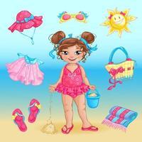 Sommarstranduppsättning och en söt liten flicka vektor