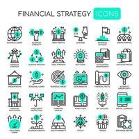 Uppsättning av svartvita tunn linje ikoner för finansiell strategi
