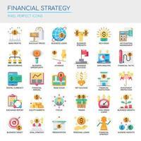 Uppsättning av platt färg ikoner för finansiell strategi vektor