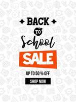 Schwarzweiss-zurück zu Schule Schulbedarfverkaufs-Plakatschablone vektor