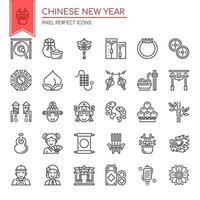 Uppsättning av svartvita tunn linje kinesiska nyårssymboler