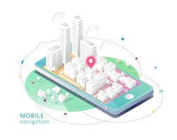 Mobiltelefon med staden ovanpå och kartnål