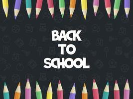 Modern zurück zu Schule, farbige Bleistiftplakatschablone