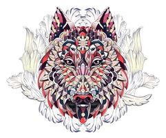 Mönstrade huvudet av vargen eller hunden på bakgrund med akantusblad
